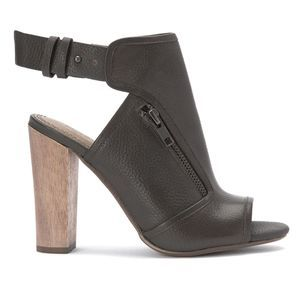 Splendid Janet Leather Peep-Toe Booties Heel Slate